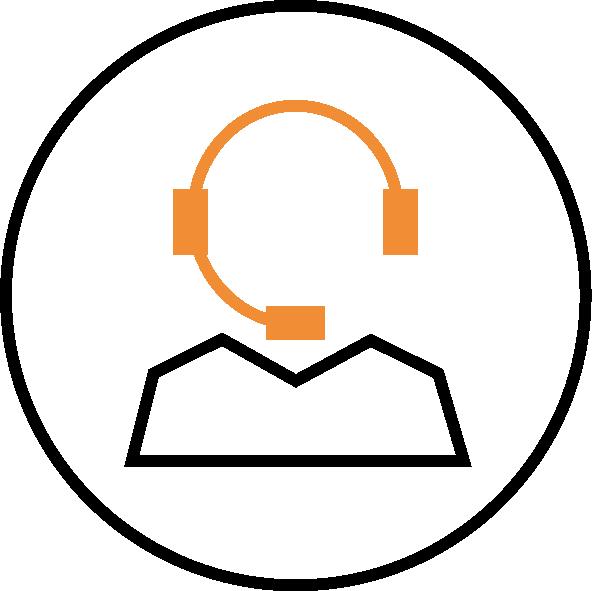 Ikon för Kundcenter med headset.