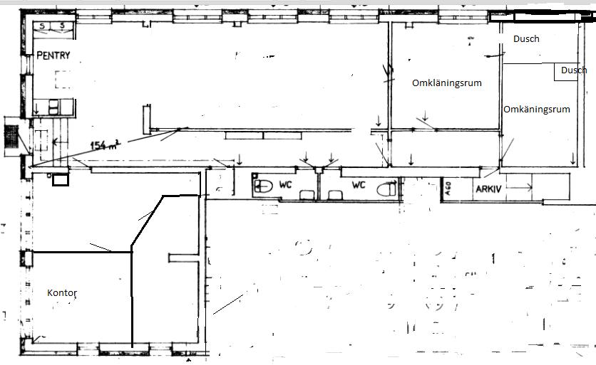 Bild på ritningen av lokalen på Drejargatan 5 i Torshälla.